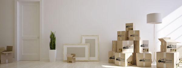 Interior moving house with cardboard boxes