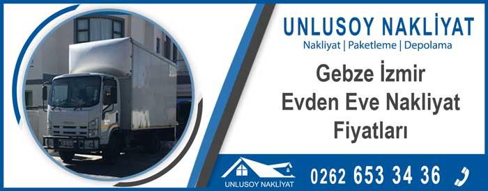 Gebze İzmir evden eve nakliyat fiyatları